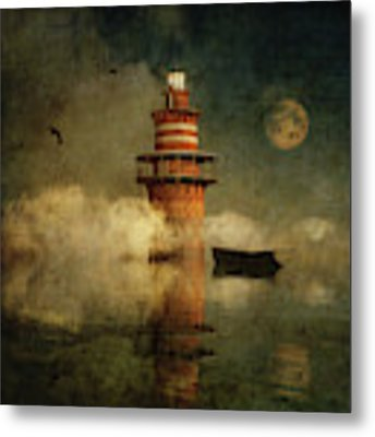 The Lonely Lighthouse In The Fog With Full Moon Metal Print by Jan Keteleer