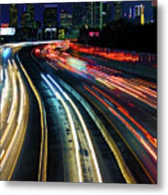 The Long Road To Dallas - Dallas Skyline - Tom Landry Freeway Metal Print by Jason Politte