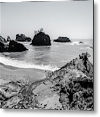 The Oregon Coast In Black And White Metal Print by Margaret Pitcher