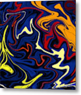 Warped Wet Paint Abstract In Comic Book Colors Metal Print by Shelli Fitzpatrick