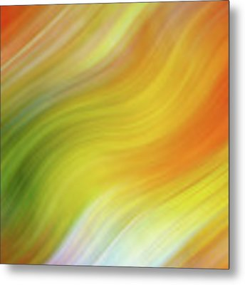 Wavy Colorful Abstract #4 - Yellow Green Orange Metal Print by Patti Deters