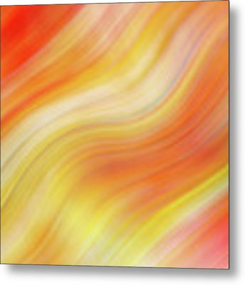 Wavy Colorful Abstract #5 - Yellow Orange Metal Print by Patti Deters