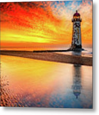 Welsh Lighthouse Sunset Metal Print by Adrian Evans