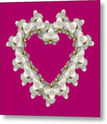 White Orchid Floral Heart Love And Romance Metal Print by Rose Santuci-Sofranko