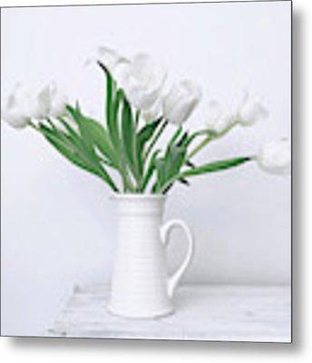 White Tulip Love Metal Print by Kim Hojnacki