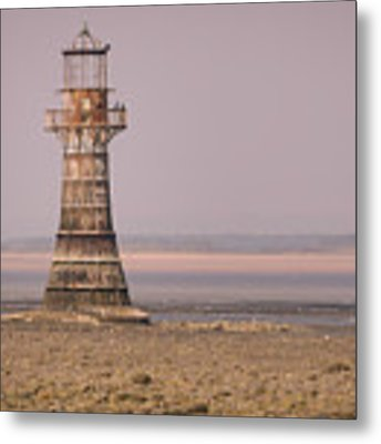 Whiteford Point Lighthouse In Pink Metal Print by Elliott Coleman