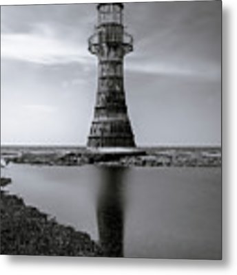 Whiteford Point Lighthouse Reflections Metal Print by Elliott Coleman