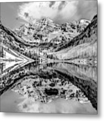 Wide Angle Maroon Bells Panoramic Landscape - Monochrome Metal Print by Gregory Ballos