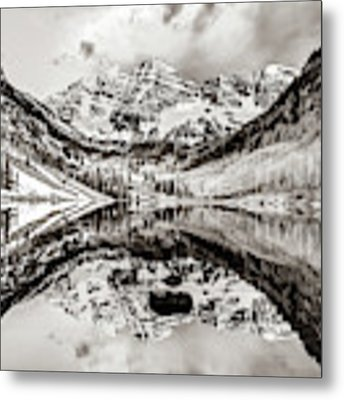 Wide Angle Maroon Bells Panoramic Landscape - Sepia Metal Print by Gregory Ballos