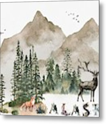 Wild Alaska Travel Poster Metal Print by Celestial Images