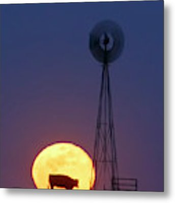 Windmill And Moon 01 Metal Print by Rob Graham
