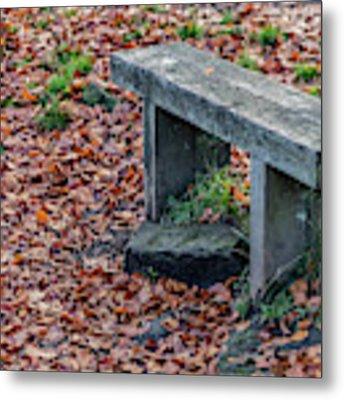 Wooden Autumn Bench Metal Print by Scott Lyons