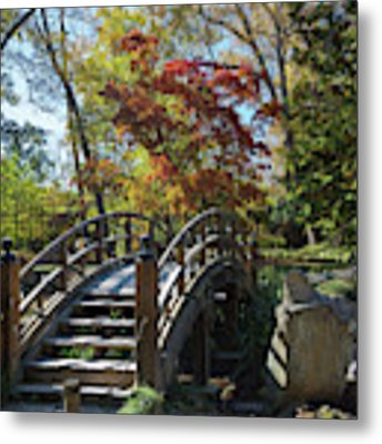 Wooden Bridge In Japanese Garden Metal Print by Jemmy Archer