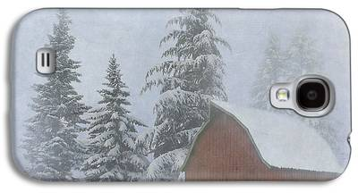 Red Barn In Winter Photographs Galaxy S4 Cases