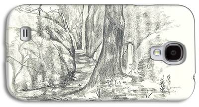 Park Scene Drawings Galaxy S4 Cases