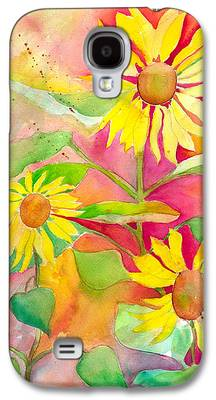 Abstracted Coneflowers Paintings Galaxy S4 Cases