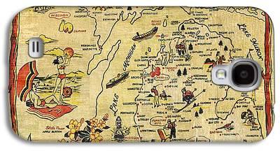 Antique Map Digital Art Galaxy S4 Cases