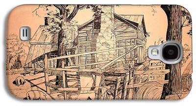 Old Barn Pen And Ink Galaxy S4 Cases