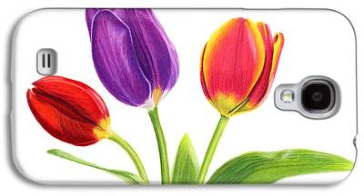 Pinks And Purple Petals Drawings Galaxy S4 Cases