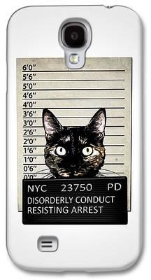 Feline Mixed Media Galaxy S4 Cases