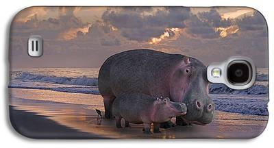 Hippopotamus Digital Art Galaxy S4 Cases