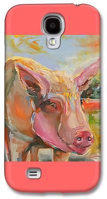 Farm Raised Pigs Paintings Galaxy S4 Cases
