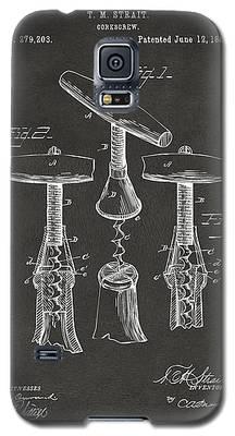1883 Wine Corckscrew Patent Artwork - Gray Galaxy S5 Case