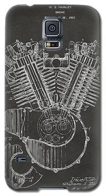 1923 Harley Engine Patent Art - Gray Galaxy S5 Case