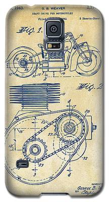 1941 Indian Motorcycle Patent Artwork - Vintage Galaxy S5 Case