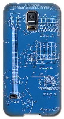 1955 Mccarty Gibson Les Paul Guitar Patent Artwork Blueprint Galaxy S5 Case