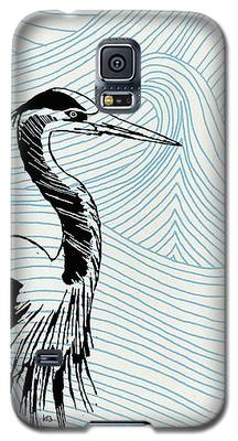 Blue Heron On Waves Galaxy S5 Case