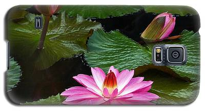 Hot Pink And Green Tropical Waterlilies Galaxy S5 Case