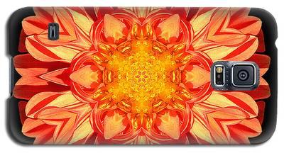 Orange Dahlia Flower Mandala Galaxy S5 Case