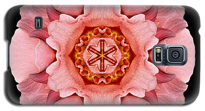 Pink And Orange Rose Iv Flower Mandala Galaxy S5 Case