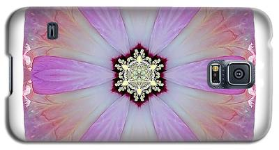 Pink And White Hibiscus Moscheutos I Flower Mandala White Galaxy S5 Case