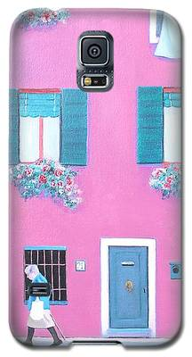 The Pink House With Green Shutters Galaxy S5 Case