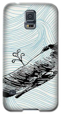 Whale On Wave Paper Galaxy S5 Case