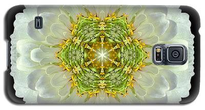 White Zinnia Elegans V Flower Mandala Galaxy S5 Case