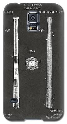 1885 Baseball Bat Patent Artwork - Gray Galaxy S5 Case