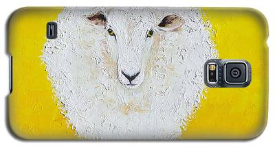 Sheep Painting On Yellow Background Galaxy S5 Case