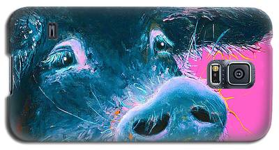 Black Pig Painting On Pink Background Galaxy S5 Case