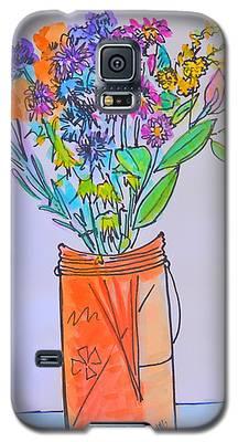 Flowers In An Orange Mason Jar Galaxy S5 Case