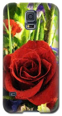 Red Rose And Flowers Galaxy S5 Case