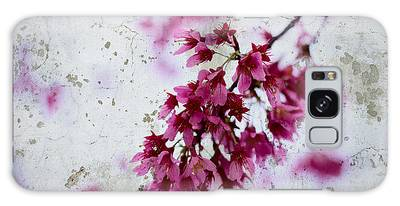 Deep Pink Flowers With Grey Concrete Texture Background Galaxy Case