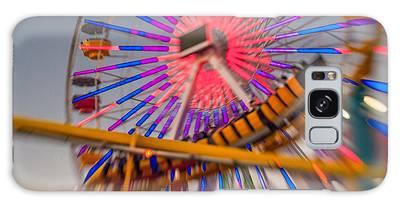 Santa Monica Pier Ferris Wheel And Roller Coaster At Dusk Galaxy Case