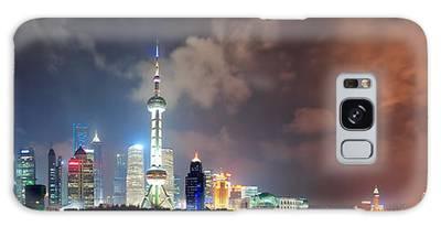 Shanghai Skyline At Night Galaxy Case