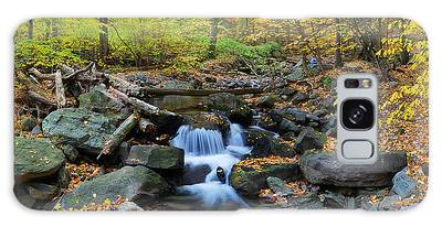 Autumn Creek Panorama With Yellow Maple Trees Galaxy Case