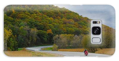 Galaxy Case featuring the photograph Autumn Motorcycle Rider / Orange by Patti Deters