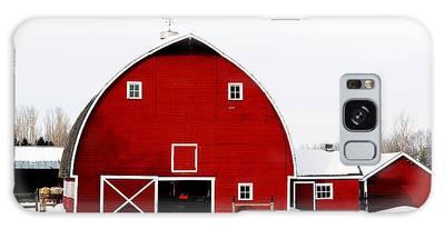Barn In Snow Galaxy Case
