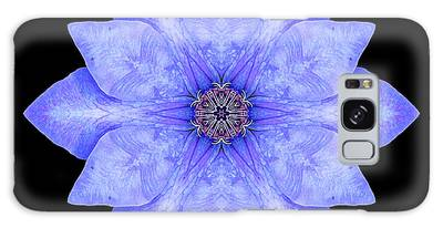 Blue Clematis Flower Mandala Galaxy Case